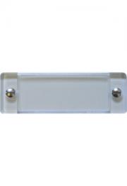 Plexiabdeckung, 60x20 mm, mit Schräubchen zu 43x17